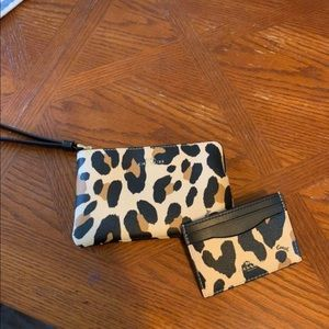 Leopard Coach wristlet and credit card holder